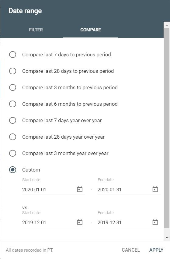 Google Search Console-Compare date ranges-Aloha